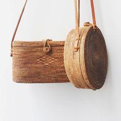 Bembien - Rose Bag and Harper Bag, 100% handwoven rattan, leather strap