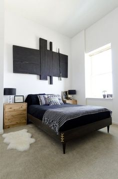 "Sneak Peek: A Modern Chicago Home. ""We designed and made our bed frame ourselves with wood and stain from Home Depot, mid-century legs from Etsy and antique hardware. Mid Century Modern Bedroom, Mid Century House, Wooden Side Table, Diy Bed Frame, Small Bedroom Designs, White Bedding, Bathroom Interior Design, Mid-century Modern, Modern Beds"