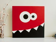 Original Painting  Monster Silly Face  24 x 24 by Pixology on Etsy, $75.00