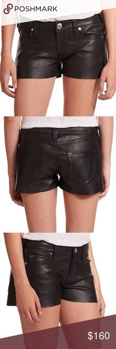 """New True Religion Joey Leather Shorts You just can't go without the trendy shorts by True Religion this season! This black mid-rise """"Joey"""" shorts are made of smooth sheep leather and come in five-pocket design with signature stitching at the back pockets. Start casually into the new season and combine the shorts with boots and leather jacket... 100% sheep leather, lining: 95% cotton, 5% spandex true to size professional leather cleaning slim fit mid-rise sleek leather. New with tags. Feel…"""
