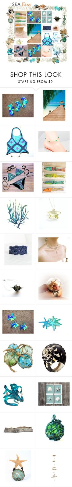 Sea Etsy by belladonnasjoy on Polyvore featuring Mesi Jilly, Brewster Home Fashions, Jamie Dietrich Designs, modern and rustic