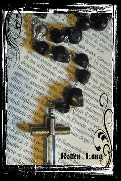 black skull rosary poison cross