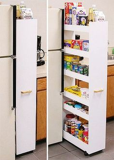 Add castors to narrow bookcase and you have a pull-out pantry. Make sure it's stable and won't tip over though. Or could use this idea for closet storage