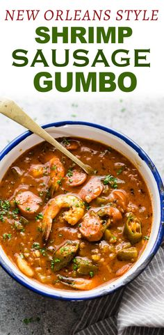 New Orleans style Shrimp Sausage Gumbo - This approachable New Orleans Shrimp sausage Gumbo recipe is broken down into steps so it& ea - Cajun Recipes, Seafood Recipes, New Recipes, Cooking Recipes, Haitian Recipes, Louisiana Recipes, New Orleans Recipes, New Orleans Shrimp Gumbo Recipe, Authentic Gumbo Recipe New Orleans