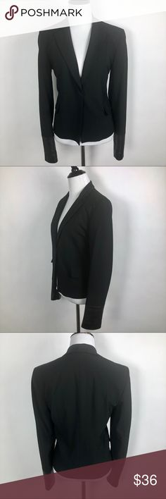 DKNY Black Faux Leather Cuffed Blazer DKNY Black Faux Leather Cuffed Wool Blend Blazer Size 6 Excellent Pre-Owned Condition  Details:  Front One Hook Closure Faux Leather Cuffed Sleeves Shoulder Padding 2 Front Flap Pockets Fully Lined  Approximate Measurements: (Laying Flat)  Bust is 35 in. Shoulder Seam to Hem is 22 in.  Material: 60% Rayon 36% Wool 4% Spandex  Thank you for shopping my closet! 😊 Dkny Jackets & Coats Blazers