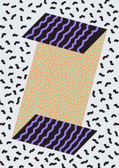 pink and black rhombuses, green and orange rectangle, gray background, black squigglys