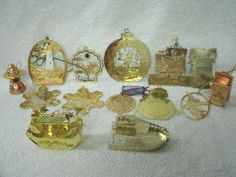 Vtg Lot 21 Tin/ Brass/Metal Christmas Ornaments--Souvenirs/Noahs Ark/Telephone