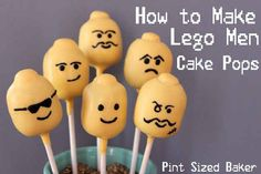 You can make Lego men cake pops, too. How To Throw The Ultimate LEGO Birthday Party Lego Man Cake, Lego Cake Pops, Lego Cupcakes, Superhero Cake, Lego Birthday Party, Boy Birthday, Birthday Parties, Birthday Ideas, Birthday Cakes