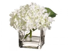 "White Hydrangea Silk Flower Arrangement ARWF3395-2. This silk Hydrangea is a work of art. This arrangement is in a square vase to add style. 7H7W7""L"