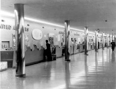 United Airlines ticket lobby, 1957.