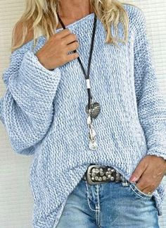 Oblique Neckline Color Block Oversized Long Shift, Sweaters - Light Blue / S Fall Fashion Outfits, Knit Fashion, Mode Outfits, Boho Fashion, Fashion Trends, Womens Fashion Online, Latest Fashion For Women, Casual Sweaters, Sweaters For Women