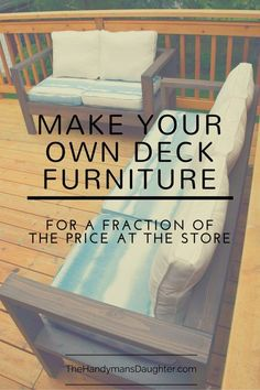Why spend a ton of money for plastic-y deck furniture when you can build your own outdoor sofa and loveseat out of cedar for a fraction of the price? Find out more at thehandymansdaughter.com                                                                                                                                                                                 More