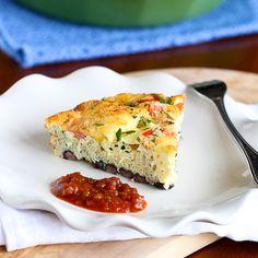 Skinny Southwestern Crustless Quiche Recipe {Vegetarian}