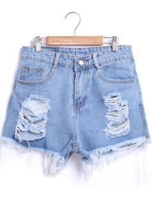 SheIn offers Blue Ripped Fringe Denim Shorts & more to fit your fashionable needs. Distressed Denim Shorts, White Ripped Jeans, Leather Jeans, Blue Denim, High Waisted Ripped Shorts, Ripped Jean Shorts, Blue Jean Shorts, Waisted Denim, Gym Outfits