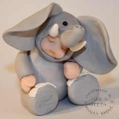 *POLYMER CLAY ~ Elephant by Jaine's Peeps, via Flickr
