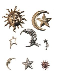 Brass Charm Embellishments - Celestial - 8 pieces Great for Scrapbooking & More! Stars, Moon, Sun! Nice ! Real Brass! Great for Candle making , Cards & Scrapbooking