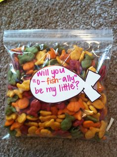 "Big/Little - ""Will you 'o-fish-ally' be my little?"" SO CUTE!"