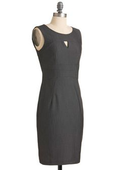 What is it with me and grey sheath dresses? :P