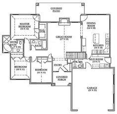 1600+ sq ft, 2.5 bath First Floor Plan of European House Plan 79712