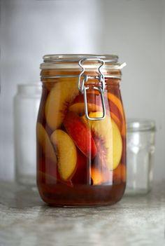 Jar of peaches in brandy