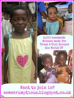 'Dress A Girl Around the World UK' charity has reached 5,000 dresses!! Dresses have been distributed to girls in 21 different countries. Want to join in? http://sewscrumptious.blogspot.co.uk