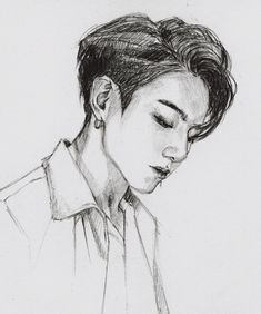 Girl Drawing Sketches, Art Drawings Sketches Simple, Kpop Drawings, Face Sketch, Pencil Art Drawings, Jungkook Fanart, Kpop Fanart, Lineart Anime, Dibujos Cute
