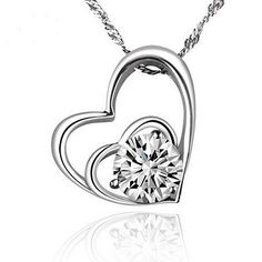 New Statement Fashion Crystal Necklace Women Silver Plated Chokers Double Heart Shape Inlaid Rhinestone Pendants Jewelry Double Heart Necklace, Sterling Silver Heart Necklace, Diamond Pendant Necklace, Crystal Necklace, Pendant Jewelry, Chain Jewelry, Necklace Chain, Heart Necklaces, Necklace Ideas