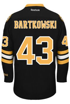 4ac03f5e71d Boston Bruins Matt BARTKOWSKI  43 Official Third Reebok Premier Replica NHL  Hockey Jersey (HAND