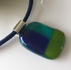 Glasfusing glashanger transparant blauw-aquarijn-gifgroen door CHARLOTTeGLAsARt op Etsy
