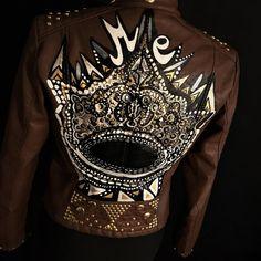 hand painted jacket, custom jacket, leather jacket, biker jacket, studded jacket