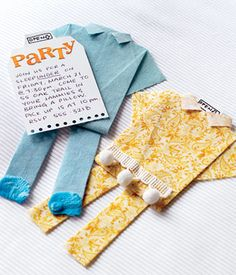 We used a cotton-poly blend fabric for these invitation jammies, but you can use anything that will hold a fold when pressed. If you desire, you can also s