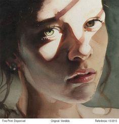 Marcos Beccati, watercolor, 2015 {figurative art beautiful female head woman face portrait painting}