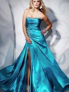 Floor-length Strapless Ruffled Dress with Rhinestones
