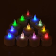 Weanas® 12pcs Rechargeable LED Tea Light Tealights Candles Multi Color with Cup AC Charger Flickering Flameless for Emergency Christmas Birthday Wedding Party  http://www.amazon.com/dp/B00L34KFMK/ref=cm_sw_r_pi_dp_GpLFub04HNWN1