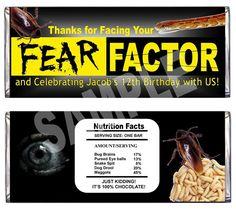 printable Fear Factor candy bar wrapper