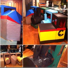 Train engine costumes for an upcoming school play. Made from free cardboard boxes!