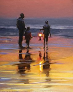 Oceans Evening Glow by Mark Boyle - Oil Painting                                                                                                                                                                                 More