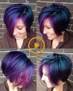 Cool Galaxy Hair Coloration for Brief Hair - Hair Color Short Purple Hair, Short Hair Cuts, Short Hair Styles, Colored Short Hair, Short Hair Colour, Short Colorful Hair, Coloured Hair, Blue Hair, Perfect Hair Color