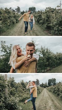 Engagement Photo Outfit Ideas - What to wear for couple photos - apple orchart engagement photos Country Engagement Pictures, Winter Engagement Photos, Engagement Photo Outfits, Fall Engagement, Engagement Pics, Couple Photography Poses, Engagement Photography, Photography Photos, Apple Orchard Photography