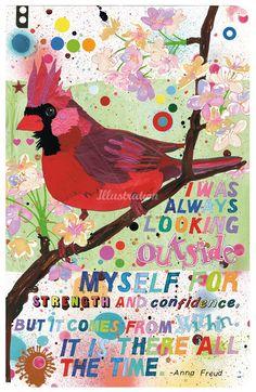Beautiful illustration of a #cardinal by Sarah Beetson