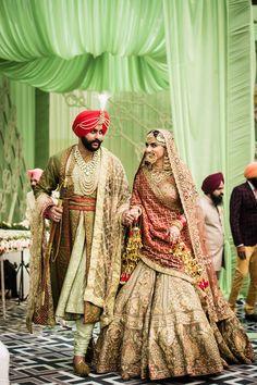 Komal & Tanveer - A Stunning Amritsar Wedding with the most beautiful Rimple and Harpreet Narula lehenga Sikh Wedding Dress, Wedding Reception Outfit, Wedding Dress Backs, Gorgeous Wedding Dress, Wedding Dress Sleeves, Wedding Looks, Wedding Suits, Punjabi Wedding Suit, Dress Lace