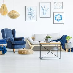 modern living room Small Furniture, Furniture Styles, Azul Pantone, Blue Armchair, Contemporary Interior Design, Trendy Home, Diy Home Improvement, Home Renovation, House Design