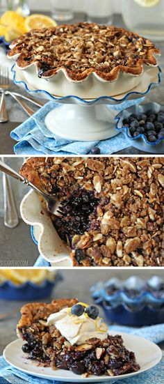 Blueberry Crumble Pie - tastes like summer! With loads of fresh blueberries plus a heavenly brown butter/almond crumble. | From SugarHero.com