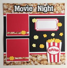 Premade Movie Night scrapbook pages 2 - 4 x 4 photo mats Your 4 x 6 photos slide under the ribbon. Special Features: Layered & All items come from a smoke - free home! Paper Bag Scrapbook, Scrapbook Albums, Scrapbook Supplies, Baby Scrapbook, Cruise Scrapbook, Scrapbook Background, Vintage Scrapbook, Disney Scrapbook, Project Life