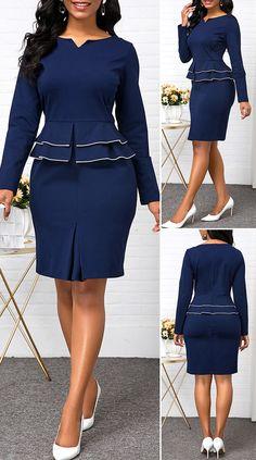 Split Neck Long Sleeve Peplum Waist Dress - New Site Short African Dresses, Latest African Fashion Dresses, Women's Fashion Dresses, Outfits Dress, Classy Work Outfits, Classy Dress, Frack, The Dress, Dress Long