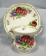 PRETTY QUEEN'S ROSINA CUP & SAUCER BONE CHINA APRIL SWEETPEA SERIES 1