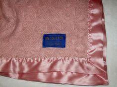 """Baby Pendleton Pink woven 100 % Virgin Wool satin trim BLanket VTG 45 x 45 """""""