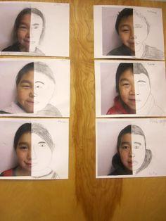 Continuer une photo (sur l'autre moitié de la feuille) au crayon de papier ou autre (notion qu'on n'a pas notre visage parfaitement symétrique à prendre en compte !)
