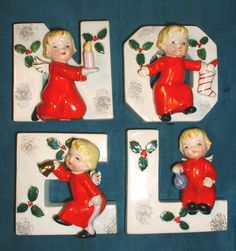 "4 1950s Vtg Napco Word ""Noel"" Christmas Wall Pockets Vases Sweet Girl Angels 