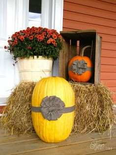 Fall porch decorating ideas using pumpkins, gourds, straw, and a beautiful festive wreath. Autumn leaves and rich fall colors. Your Fall Porch decorating will be fabulous! Autumn Decorating, Porch Decorating, Decorating Ideas, Decor Ideas, Pumpkin Decorating, Thanksgiving Decorations, Halloween Decorations, Fall Decorations, Fall Pumpkins